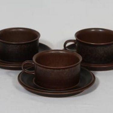 Arabia Ruska teekupit, ruskea lasite, 3 kpl, suunnittelija Ulla Procope,