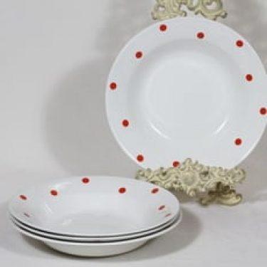 Arabia Pallo lautaset, syvä, 4 kpl, suunnittelija Raija Uosikkinen, syvä, serikuva, retro