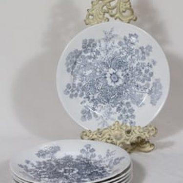 Arabia Puketti lautaset, matala, 6 kpl, suunnittelija Raija Uosikkinen, matala, kuparipainokoriste