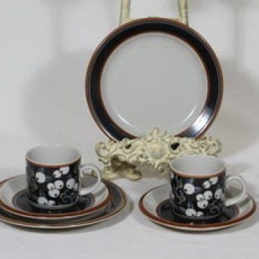 Arabia Taika kahvikupit ja lautaset, 2 kpl, suunnittelija Inkeri Seppälä, puhalluskoriste, retro