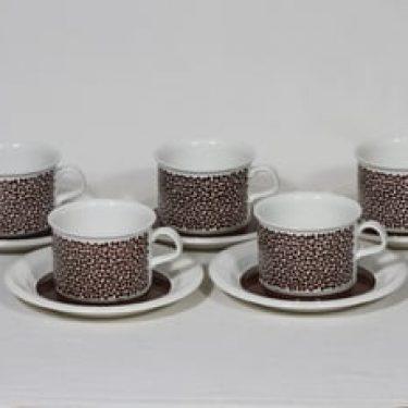 Arabia Faenza teekupit, Ruskeakukka, 5 kpl, suunnittelija Inkeri Seppälä, Ruskeakukka, serikuva, retro