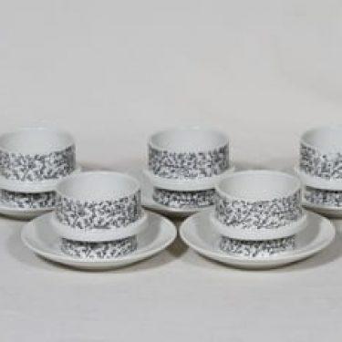 Arabia Kanerva kahvikupit, 5 kpl, suunnittelija Göran Bäck, serikuva