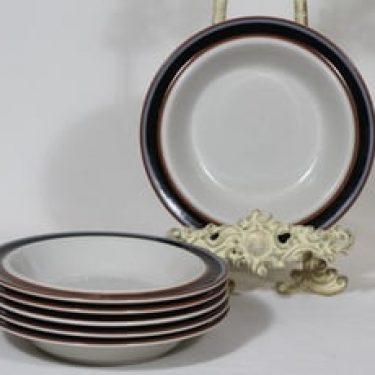 Arabia Taika lautaset, syvä, 6 kpl, suunnittelija Inkeri Seppälä, syvä, raitakoriste
