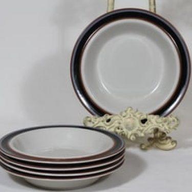 Arabia Taika lautaset, syvä, 5 kpl, suunnittelija Inkeri Seppälä, syvä, raitakoriste
