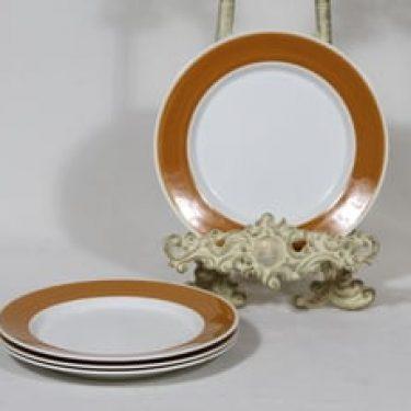 Arabia Palapeli lautaset, 4 kpl, suunnittelija Kaarina Aho, pieni, raitakoriste