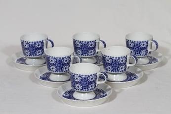 Arabia Ali kahvikupit, sininen, 6 kpl, suunnittelija Raija Uosikkinen, kuparipainokoriste