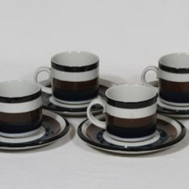 Arabia Kaira kahvikupit, käsinmaalattu, 4 kpl, suunnittelija Anja Jaatinen-Winquist, käsinmaalattu, raitakoriste