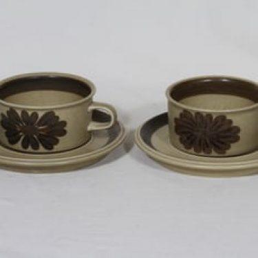 Arabia Tunturi teekupit, käsinmaalattu, 2 kpl, suunnittelija Olga Osol, käsinmaalattu