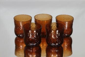 Nuutajärvi Fauna lasit, ruskea, 5 kpl, suunnittelija Oiva Toikka,