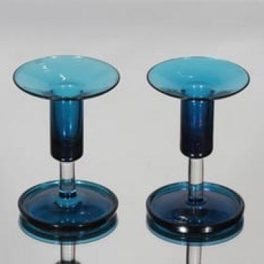 Riihimäen lasi Harlekiini kynttilänjalat, signeerattu, 2 kpl, suunnittelija Nanny Still, signeerattu