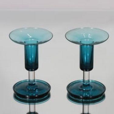 Riihimäen lasi Harlekiini kynttilänjalat, sininen, 2 kpl, suunnittelija Nanny Still,
