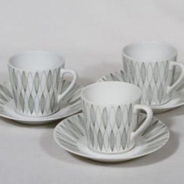 Arabia Vuokko kahvikupit, harmaa, 3 kpl, suunnittelija Raija Uosikkinen, kuparipainokoriste, viiva-aihe