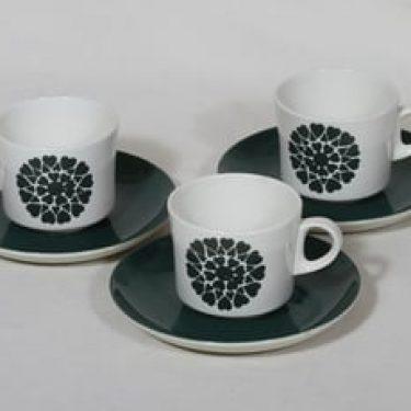 Arabia BR kahvikupit, vihreä, 3 kpl, suunnittelija Görän Bäck, serikuva, nimetön koriste