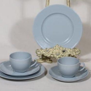 Arabia Sointu kahvikupit ja lautaset, vaaleansininen, 2 kpl, suunnittelija Kaj Franck,