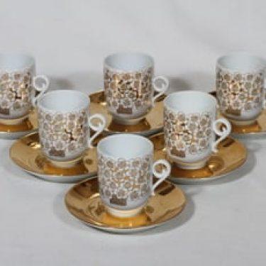 Arabia Mira kahvikupit, 6 kpl, suunnittelija Esteri Tomula, serikuva, kullattu