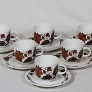 Arabia Cafe kahvikupit, ruskea, 6 kpl, suunnittelija Gunvor Olin-Grönqvist, serikuva, kukka-aihe