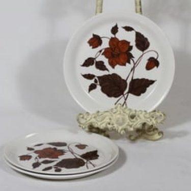 Arabia Tea for Two leivoslautaset, ruskea, 3 kpl, suunnittelija Gunvor Olin-Grönqvist, serikuva, kukka-aihe