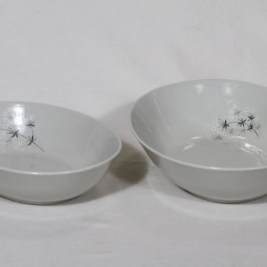 Arabia Lumikukka bowls, different sizes, 2 pcs, designer Raija Uosikkinen, silk screening, flower theme