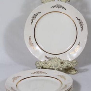Arabia Irja lautaset, matala, 5 kpl, suunnittelija , matala, painettu, kultakoriste