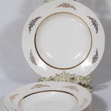 Arabia Irja lautaset, syvä, 6 kpl, suunnittelija , syvä, painettu, kultakoriste