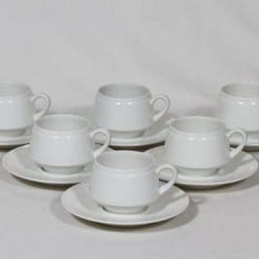 Arabia Pitsi kahvikupit, valkoinen, 6 kpl, suunnittelija Raija Uosikkinen,
