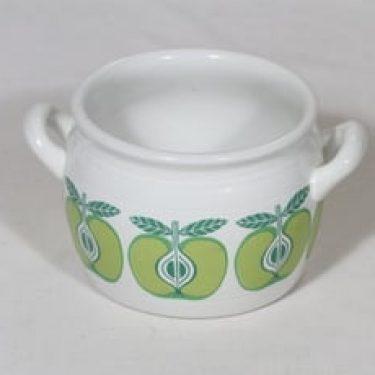 Arabia Pomona ruukku, omena, suunnittelija Raija Uosikkinen, omena, pieni, 0.5 l, serikuva