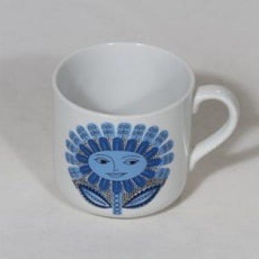 Arabia Daisy lasten muki, sininen, suunnittelija Esteri Tomula, serikuva, kukka-aihe, retro