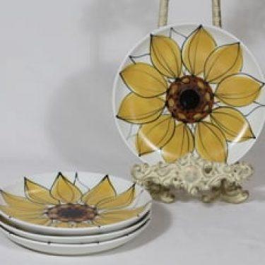 Arabia Aurinkoruusu lautaset, pieni, 4 kpl, suunnittelija Hilkka-Liisa Ahola, pieni, käsinmaalattu, kukka-aihe, signeerattu