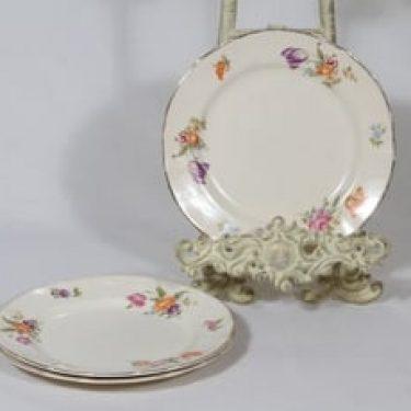 Arabia Kesäkukka lautaset, 3 kpl, suunnittelija , pieni, siirtokuva, kukka-aihe