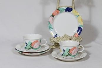 Arabia Arctica Poetica teekupit ja lautaset, 2 kpl, suunnittelija Dorrit Von Fieandt, serikuva