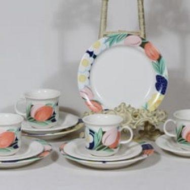Arabia Arctica Poetica kahvikupit ja lautaset, 4 kpl, suunnittelija Dorrit Von Fieandt, serikuva