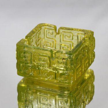 Riihimäen lasi Taalari tuhka-astia, keltainen, suunnittelija Tamara Aladin, massiivinen