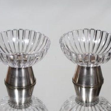 Nuutajärvi NN kynttilänjalat, hopeajalka, 2 kpl, suunnittelija Saara Hopea, hopeajalka