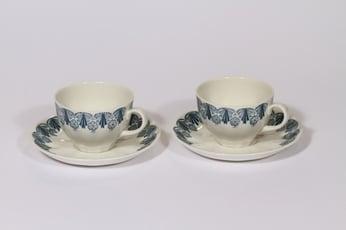 Arabia Sohvi kahvikupit, sininen, 2 kpl, suunnittelija Raija Uosikkinen, painokoriste