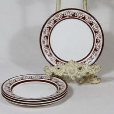 Arabia Katrilli leivoslautaset, ruskea, 4 kpl, suunnittelija Esteri Tomula, serikuva