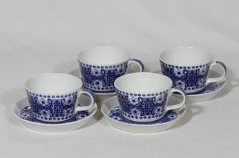 Arabia Ali teekupit, sininen, 4 kpl, suunnittelija Raija Uosikkinen, kuparipainokoriste