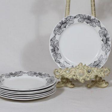 Arabia Sipuli lautaset, musta, 7 kpl, suunnittelija Raija Uosikkinen, pieni, serikuva