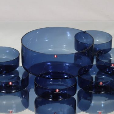 Iittala i-307 kulho ja annoskulhot, sininen, 6 kpl, suunnittelija Timo Sarpaneva, I-väri
