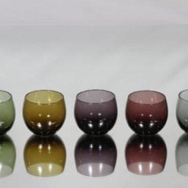 Nuutajärvi Marja lasit, eri värejä, 5 kpl, suunnittelija Saara Hopea, pieni
