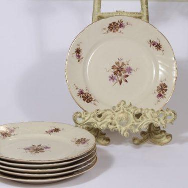 Arabia Raili leivoslautaset, 6 kpl, suunnittelija Svea Granlund, pieni, siirtokuva, kukka-aihe