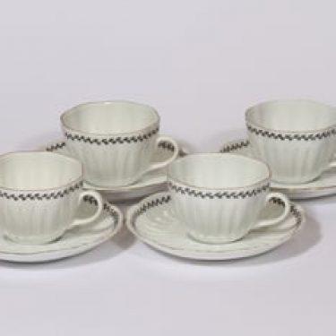 Arabia Varpu kahvikupit, 4 kpl, suunnittelija Raija Uosikkinen, ornamentti