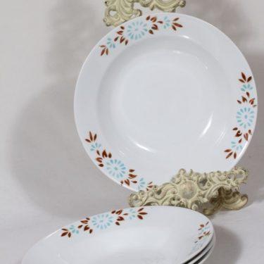 Arabia Kukka lautaset, 4 kpl, suunnittelija , syvä, puhalluskoriste