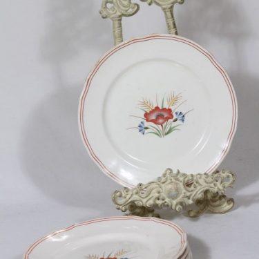 Arabia Kesä lautaset, 6 kpl, suunnittelija Rainer Baer, pieni, siirtokuva, kukka-aihe