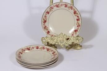 Arabia Anneli lautaset, 6 kpl, suunnittelija Olga Osol, pieni, siirtokuva, kukka-aihe