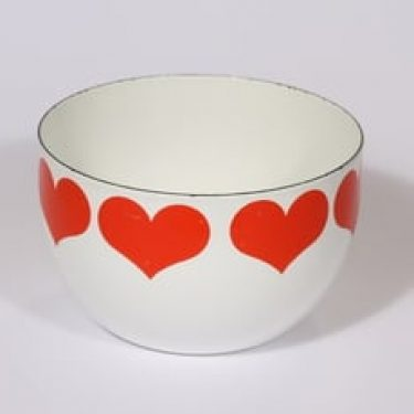 Finel kulho, punainen, suunnittelija Kaj Franck, pieni, serikuva, sydänaihe