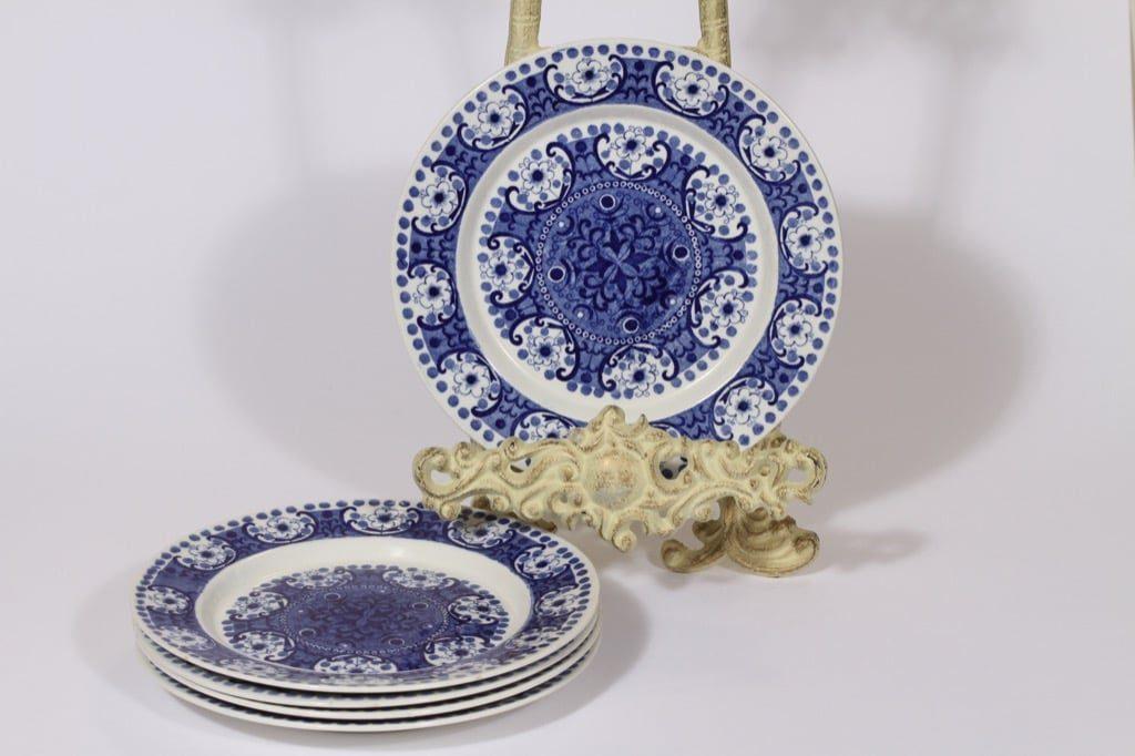 Arabia Ali lautaset, sininen, 5 kpl, suunnittelija Raija Uosikkinen, pieni, kuparipainokoriste