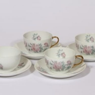 Arabia kukkakuvio kahvikupit, 4 kpl, suunnittelija , siirtokuva, ruusuaihe