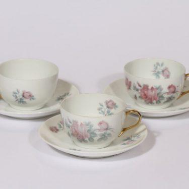 Arabia GB kahvikupit, kukkakuvio, 3 kpl, suunnittelija , kukkakuvio, siirtokuva, ruusuaihe