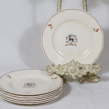 Arabia Kauris lautaset, 7 kpl, suunnittelija Tyra Lungren, pieni, siirtokuva