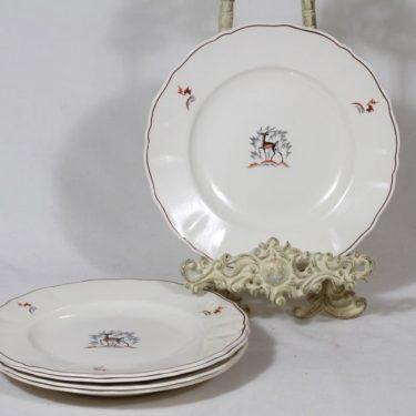 Arabia Kauris lautaset, matala, 5 kpl, suunnittelija Tyra Lungren, matala, siirtokuva